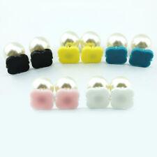 Acrylic Blank Monogram Clover Pearl Stud Earrings for Women 2018 Fashion Jewelry