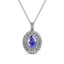 Oval Tanzanite & Diamond Double Halo Pendant 0.93 Carat tw in 14K Gold JP:79450