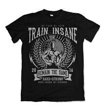 Train Insane t shirt Gym Mens Top Same Remain Tee Motive Training S-3XL