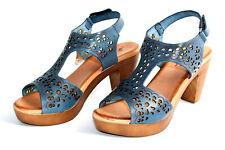 Plateau Sandalette Leder Spain Keilabsatz Pumps High Heels Wedge Leather Sandals