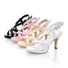Women Cross Strappy Slingbacks High Heel Open Toe Sandals Shoes Fashion Plus Sz