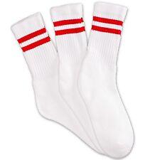 12 Pairs 1 Dozen Crew White Socks with 2 Red Stripes Classic Retro Old School