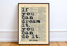 WALT DISNEY preventivo motivazione ispirazione Wall Art Print MOC pagina di dizionario