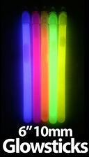"6"" Bright 10mm Glow Sticks - Coloured Bright Glowsticks - Parties, Festivals"