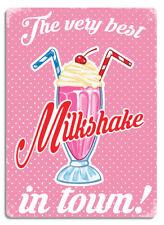 Milkshake rose. métal mural signe plaque art kitsch inspiré rétro cuisine