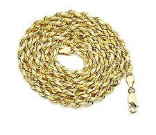 "10K Yellow Gold 3mm Men's Women's Hollow Diamond Cut Rope Chain 16""-30"" Necklace"