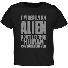 Halloween Human Alien Costume Black Toddler T-Shirt