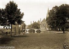 Tirage photo ancienne-  XIXe Ville de Bruges Brugge Canaux et Jardins