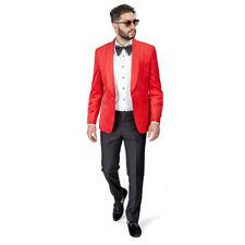 Shawl Lapel Velvet Tuxedo Red 1 Button Suit Black Pants Flat Front Fitted AZAR