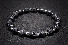 Lava schwarz Armband mit 925 Silber I elastisch, Bracelet, Steine, edel,handmade