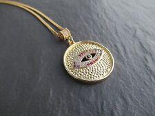 Womens Girls CZ Paved Evil Eye Lucky Eye Gold Pendant Necklace Chain UK
