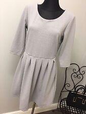 Vila Women's Grey 3/4 Sleeve Skater Dress RRP £60 (AS-30/2)