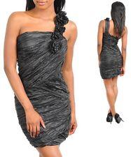 Ladies One Shoulder Cocktail Prom Dress Size 8 10 BLACK BURGUNDY NEW