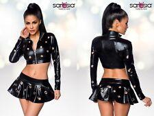 SARESIA WETLOOK SET ROCK JACKE top schwarz gogo clubwear glanz mini