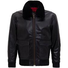 King queroseno rockabilly vintage Biker chaqueta de cuero-aviator negro