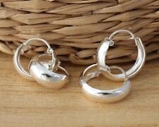 Solid 925 Sterling Silver Plain Huggie Hoop Earrings Jewellery 15mm & 12mm