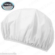 8 x Shower Caps Elasticated Plastic White Waterproof Hair Wrap Bath by Athena