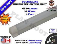 4 Feet Integrated 36 WT ETL cETL T8 MILKY LENS Double Line LED 6500K Tube Light