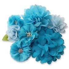 BLUE Fabric Flowers CRAFT DIY Glue/Sew On Embellishment Applique Garment Hair