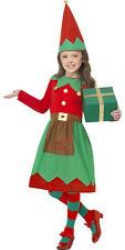 Girls Childrens Santa Little Helper Christmas Elf Xmas Fancy Dress Costume 4-12