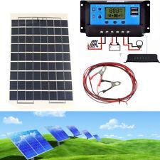 10W Solar Panel + 10/20/30A 12V/24V LCD Battery Charger Charge Regulator + USB