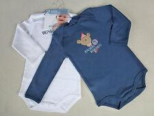 SCHIESSER Baby Body Sprüche Doppelpack Gr 62-104 Bodies Langarm 100% BW NEU