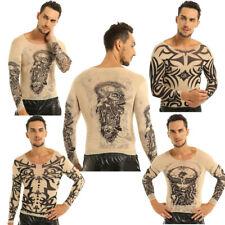 Tattoo Design T-Shirt Sexy Mens See-through Long Sleeve Undershirt Nightwear Hot