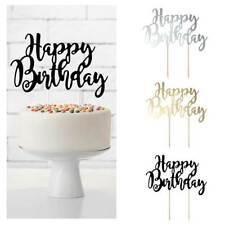 Tortendeko Cake Topper Happy Birthday Holzstäbe Geburtstagskuchen-Überraschung