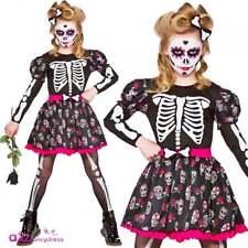 Girls Skull Day Of The Dead Kids Halloween Fancy Dress Costume Zombie Skeleton