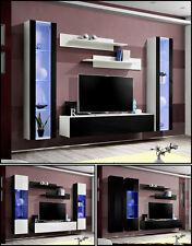 salón modular de PARED Estantería FLY A Alto Brillo Pvc Iluminación LED