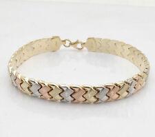 Diamond Cut Basket Weave  Bracelet REAL 14K TriColor Yellow White Pink Gold