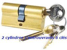 SERIE DE 2 CYLINDRES 30/30 LAITON S'ENTROUVRANT