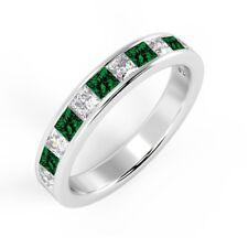 0.75 Carat Princess Emerald & Diamond Channel Set Half Eternity Ring, White Gold