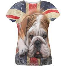 English Bulldog Union Jack Flag Live Forever All Over Womens T Shirt