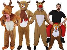 Adultos Disfraz De Reno Navidad Mascota Vestido de fantasía Traje recogerme Mono