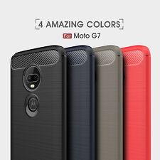 Shockproof Armor Carbon Fiber Hybrid Brush Case For Motorola Moto G7 / G7 Plus