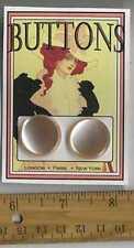 2 Pale Peach Pearl w beveled edges = VINTAGE BUTTONS = Cassie Annie ART CARD