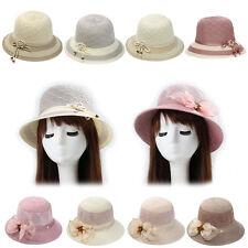 Magik Women Lady Summer Breathable Sun Braided Trim Straw Bowler Cap Cloche Hat