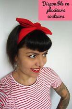 Bandeau headband noeud rouge bleu blanc noir rose élastique coton coiffure pinup