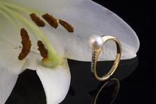Schmuck Ring 750er Gelbgold Perlenring mit funkelnden Diamanten 18 Karat