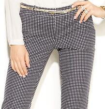 NWT $110 MICHAEL Michael Kors Skinny Gingham-Print Pants New Navy 6 12 14