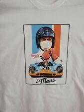 T SHIRT blanc STEVE MAC QUEEN 24H LE MANS PORSCHE 917 GULF course automobile TEE