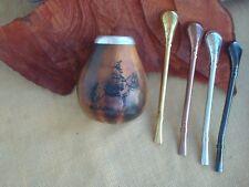 Mate Calabaza Gourd Yerba With Straw Bombilla, Engraving Gaucho,