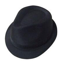 Mens Black 100% Cotton Trilby Gangster Hat 5 Sizes Sent Boxed
