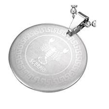 Stainless Steel Silver-Tone Greek Key Zodiac Sign Necklace Pendant - Scorpio