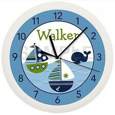 NAUTICAL SAILBOAT WALL CLOCK NURSERY BLUE GREEN BABY BOY SHOWER PERSONALIZED