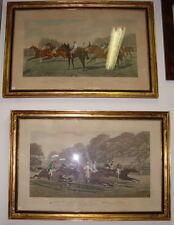 1888-ENORME COPPIA DI DERBY INGLESI-FIRMATI-CON CORNICE-GENTELMEN RIDERS-ORIGINA