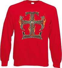 Sweatshirt in rot mit einem Tattoo-,Gothik-& Bikermotiv Modell Flame Cross