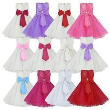 Filles tulle robe de soirée nœud fleur fille mariage pageant Demoiselle D'Honneur 2-12 y