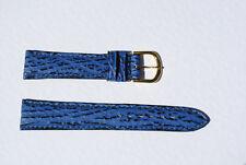 bracelet montre requin véritable bleu bombé doublé cuir véritable 18mm